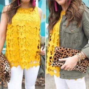 LOFT Sunny Yellow {Mustard} Lace Top